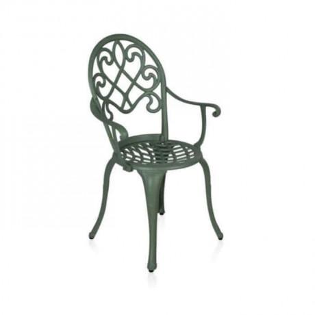Klasik Kollu Gri Boyalı Alüminyum Döküm Sandalye Bahçe - dks9030