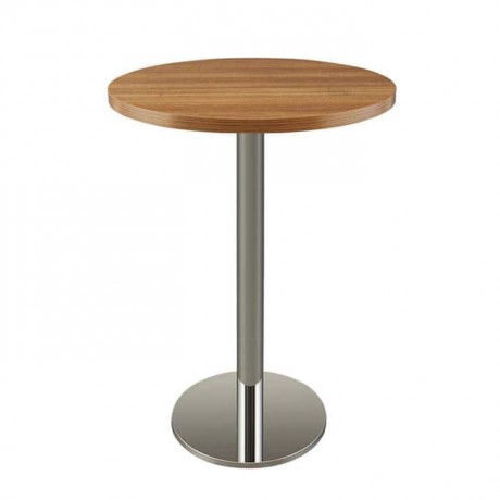 Wooden Color Thick Mdf Lam Table Top Stainless Steel Cocktail Table - ktm63