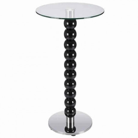 Cocktail Table with Wooden Lathe Leg Lacquered Glass Table - ktm77