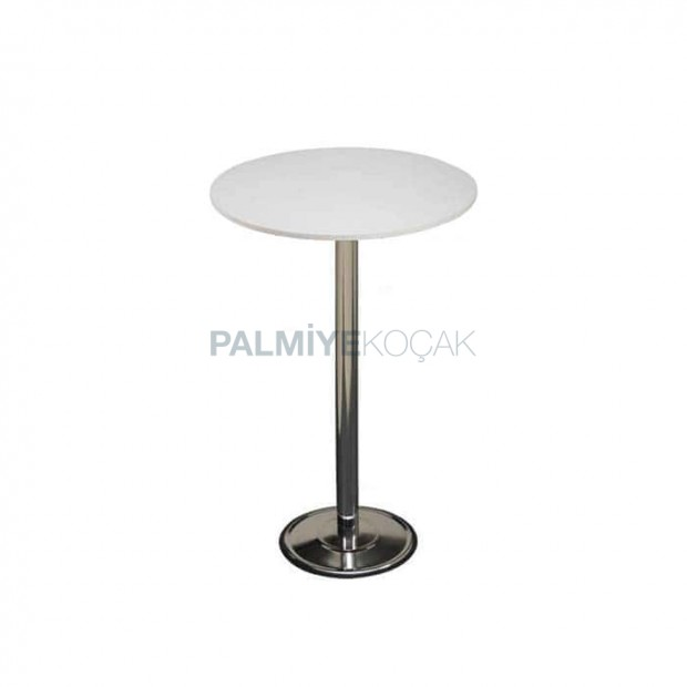 Cocktail Table Top with White Mdflam Table Chrome Leg