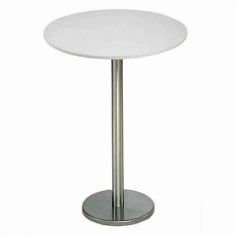 White Mdflam Table Top Stainless Steel Cocktail Table - ktm62