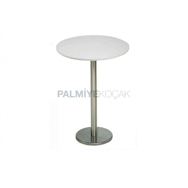 White Mdflam Table Top Stainless Steel Cocktail Table