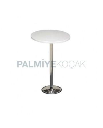White Werzalit Table Top with Chromium Stone Leg Bistro Table