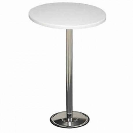 Beyaz Werzalit Tablalı Krom Taş Ayaklı Bistro Masası - ktm74