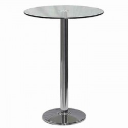 Glass Table Top Stainless Steel Cocktail Bistro Table