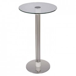 Bistro Cocktail Table with Glass Table Top Stainless Sticks
