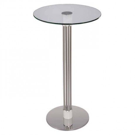 Bistro Cocktail Table with Glass Table Top Stainless Sticks - ktm81