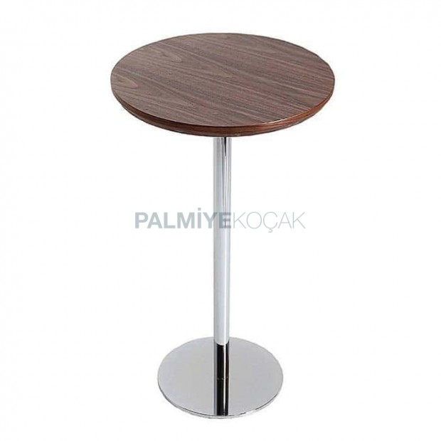 Polished Natural Upholstered Stainless Round Base Cocktail Table