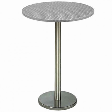 Cocktail Table with Stainless Round Leg and Table Top - ktm84