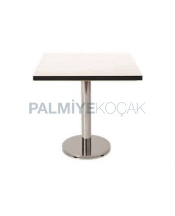 Round Stainless Leg Table with 24mm Compact Table Top