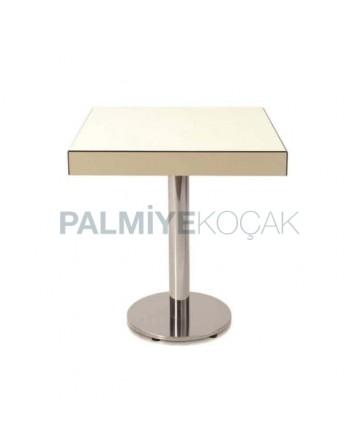 White Compact Color Metal Leg Table