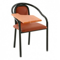 Brown Leather Upholstered Black Black Painted Seminar Conference Chair