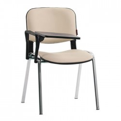 Cream Leather Upholstered Foldable Chair with Writing Pad
