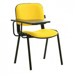 Yellow Leather Upholstered Black Painted Classroom Chair with Writeğad