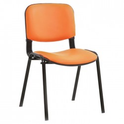 Orange Painted Metal Leg Leather Upholstered Chair