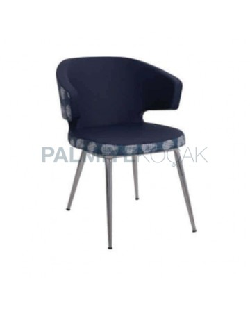Dark Gray Fabric Upholstered Polyurethane Metal Chair
