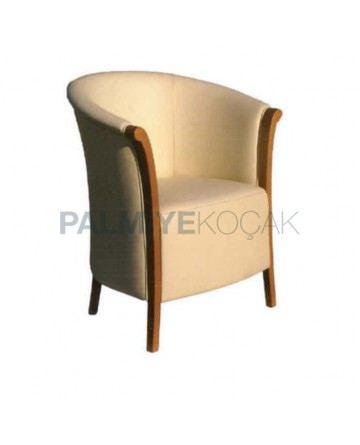 Cream Leather Wooden Arm Chair