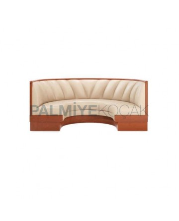 Cream Leather Upholstered Wooden Restaurant Booths