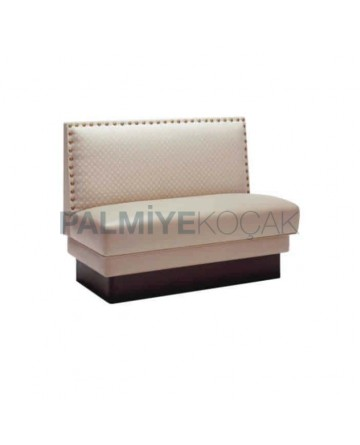Cream Leather Upholstered Cafe Couch