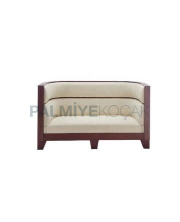 Cream Leather Oval Wooden Cedar