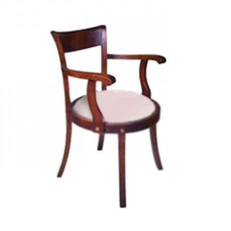 Krem Kumaş Döşemeli Kollu Sandalye - ksak25