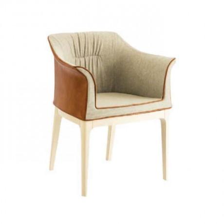 Krem Kumaşlı Beyaz Ayak Boyalı Poliüretan Sandalye - psa681