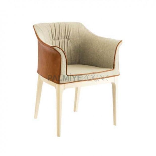 Krem Kumaşlı Beyaz Ayak Boyalı Poliüretan Sandalye