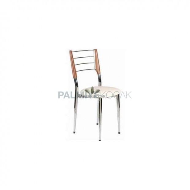 Chrome Nickel Wood Chair