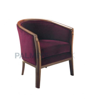 Fabric Furnished Wooden Dining Room Armchair