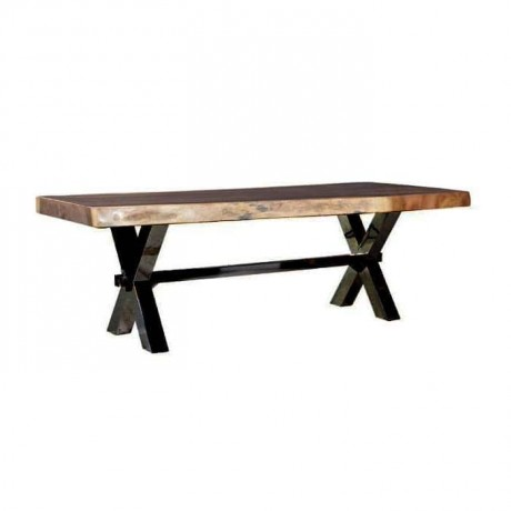 Wooden Log Table with Crossed Iron Leg - ktk9051