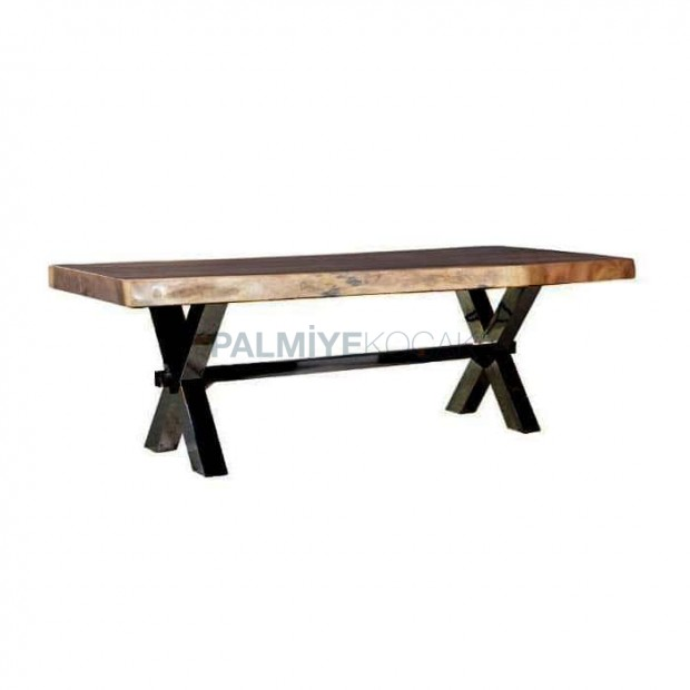 Wooden Log Table with Crossed Iron Leg