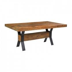 Cross Metal Leg Wooden Log Table