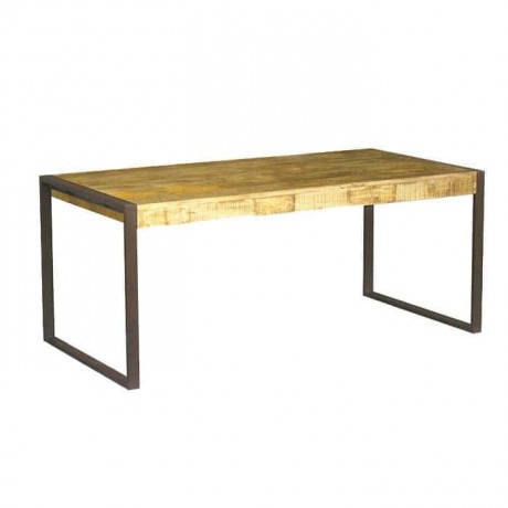 Iron Leg Wooden Log Hotel Restaurant Table - ktk9043