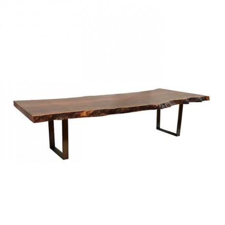Iron Leg Wooden Log Table - ktk9039