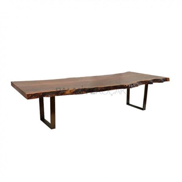 Iron Leg Wooden Log Table