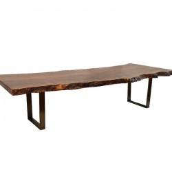 Iron Wrought Leg Natural Wooden Log Table