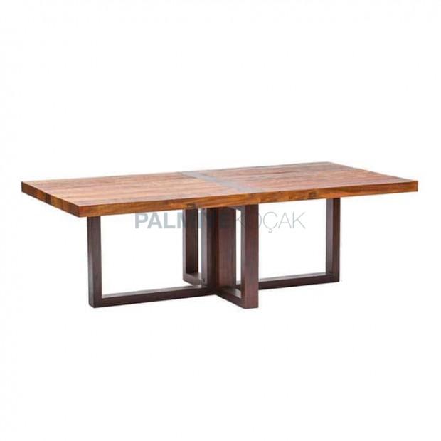 Rectangular Table Top Bronze Color Metal Leg Wooden Log Table