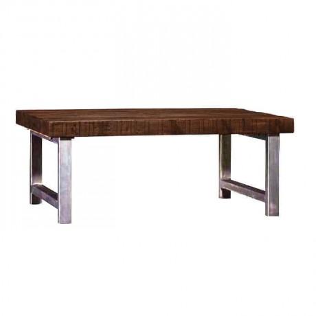 Square Profile Metal Leg Wooden Log Table - ktk9040