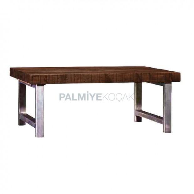 Square Profile Metal Leg Wooden Log Table