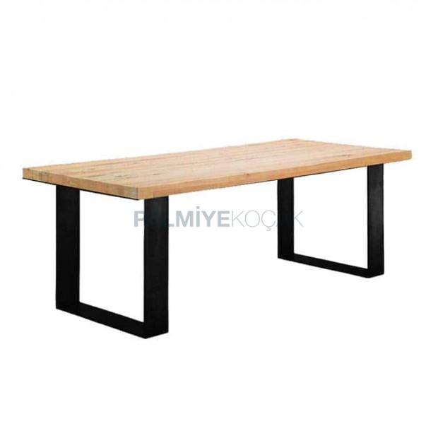 Metal Leg Restaurant Wooden Log Table