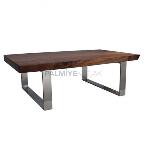 Stainless Metal Leg Walnut Log Table