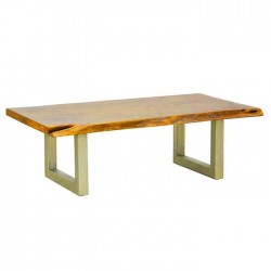 Gray Painted Metal Leg Wooden Log Table for eight