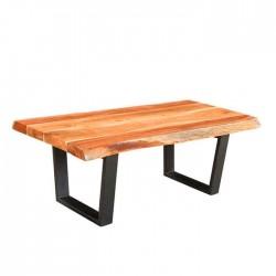 Black U Shape Metal Leg Restaurant Wooden Log Table