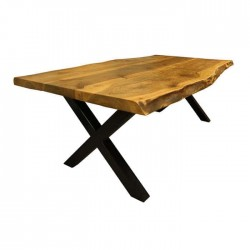 Cafe Block Table with X Leg