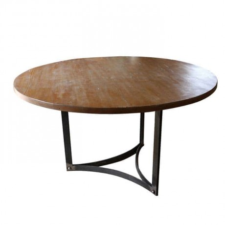 Round Table Top Metal Wrought Iron Leg Wooden Log Table - ktk9044