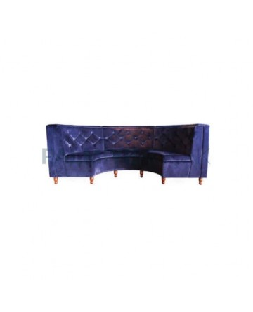 Navy Blue Fabric Upholstered Corner Booths