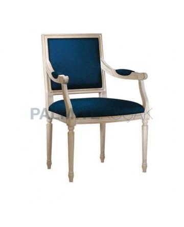 Lacivert Kumaşlı Beyaz Lake Boyalı Tornalı Klasik Sandalye