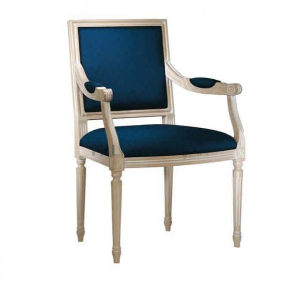 Navy Blue Fabric White Lacquered Decorated Classic Chair
