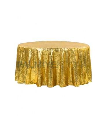 Altın Renkli Yuvarlak Banket Masa Örtüsü