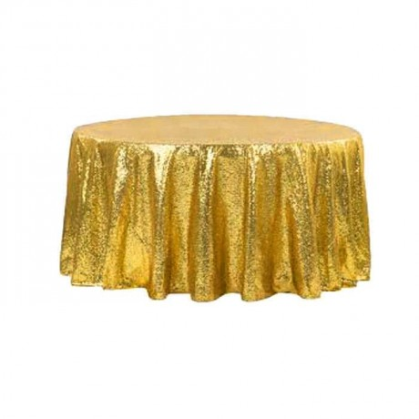 Gold Colored Round Banquet Table Cloth - mst5014